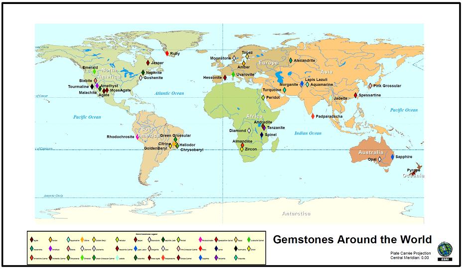 Gemstone World Map.World Gemstone Map